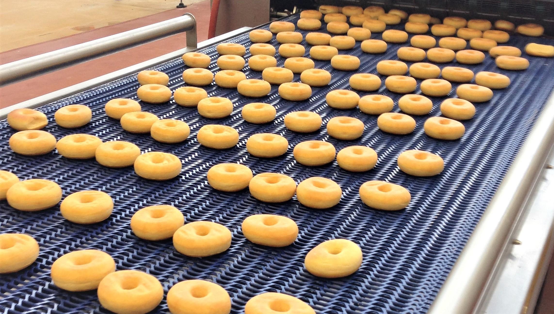 Doughnuts on a conveyor belt