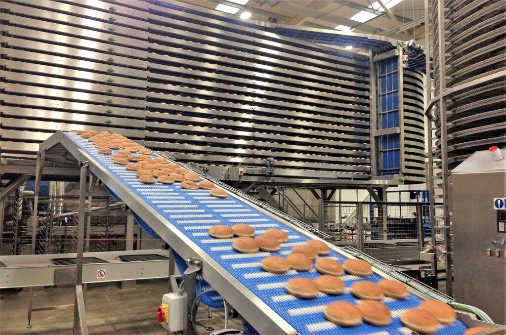 pancakes on conveyor belt