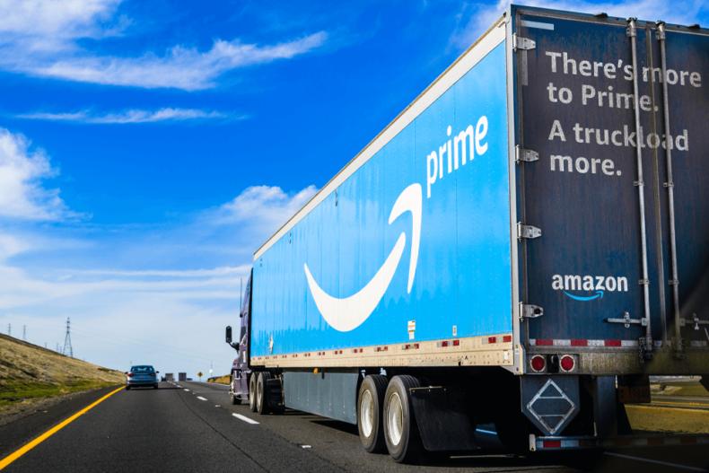 Amazon prime lorry driving away